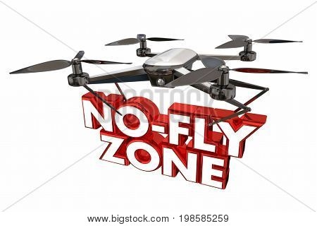 No-Fly Zone Restricted Airspce Drone Flying Carrying Words 3d Illustration