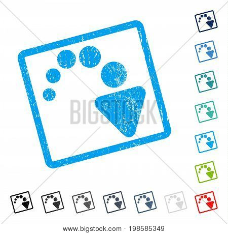 Redo rubber watermark in some color versions.. Vector icon symbol inside rounded rectangular frame with grunge design and dirty texture. Stamp seal illustration, unclean sticker.