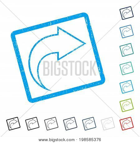 Redo rubber watermark in some color versions.. Vector icon symbol inside rounded rectangle with grunge design and unclean texture. Stamp seal illustration, unclean emblem.