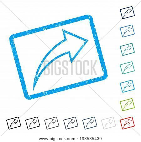 Redo rubber watermark in some color versions.. Vector icon symbol inside rounded rectangular frame with grunge design and scratched texture. Stamp seal illustration, unclean sign.