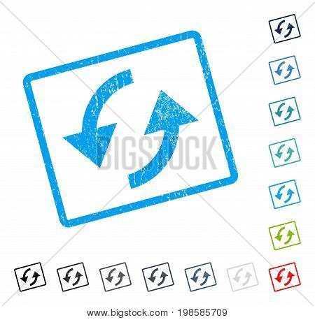 Refresh rubber watermark in some color versions.. Vector pictogram symbol inside rounded rectangular frame with grunge design and scratched texture. Stamp seal illustration, unclean sign.