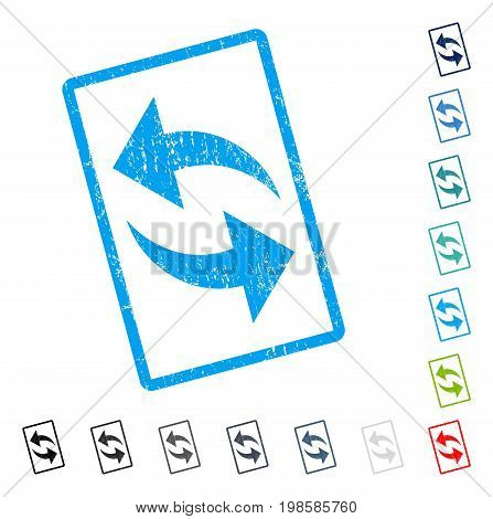 Refresh rubber watermark in some color versions.. Vector icon symbol inside rounded rectangular frame with grunge design and unclean texture. Stamp seal illustration, unclean emblem.