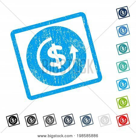 Refund rubber watermark in some color versions.. Vector pictogram symbol inside rounded rectangular frame with grunge design and dirty texture. Stamp seal illustration, unclean sign.