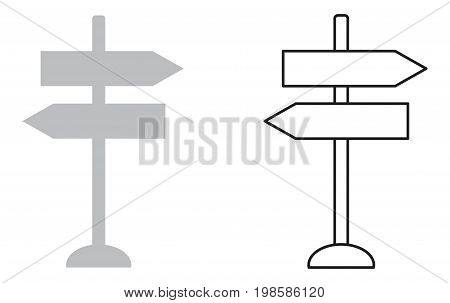 This is a vector line drawing of a directional signpost.