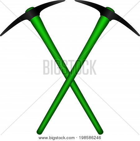 Two crossed mattocks in black design with green handle on white background