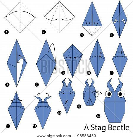 step by step instructions how to make origami A Stag Beetle