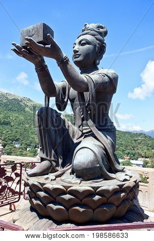Bodhisattva statue located in Po Lin Monastery, Lantau Island, Hong Kong, China