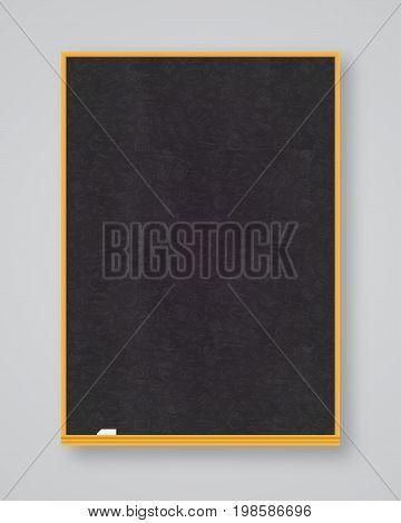 School chalkboard black color vertical orientation isolated on white background. School board. Vector Illustration