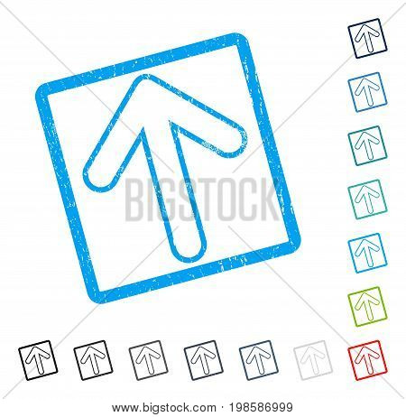 Rounded Arrow Up rubber watermark in some color versions.. Vector pictogram symbol inside rounded rectangular frame with grunge design and dust texture. Stamp seal illustration, unclean sticker.