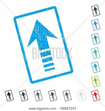 Send Up rubber watermark in some color versions.. Vector icon symbol inside rounded rectangle with grunge design and scratched texture. Stamp seal illustration, unclean sign.