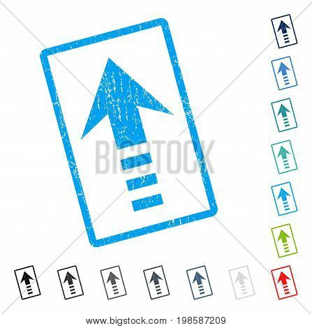Send Up rubber watermark in some color versions.. Vector icon symbol inside rounded rectangular frame with grunge design and dust texture. Stamp seal illustration, unclean sign.