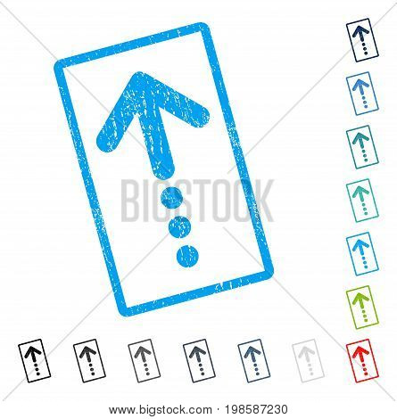 Send Up rubber watermark in some color versions.. Vector pictogram symbol inside rounded rectangular frame with grunge design and dust texture. Stamp seal illustration, unclean sticker.