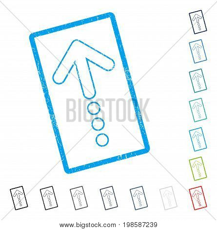 Send Up rubber watermark in some color versions.. Vector icon symbol inside rounded rectangular frame with grunge design and dust texture. Stamp seal illustration, unclean sticker.