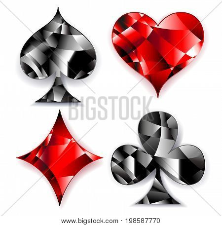 Set of polygonal shiny symbols of playing cards on a white background. Symbols of playing cards heart diamond spade and club.