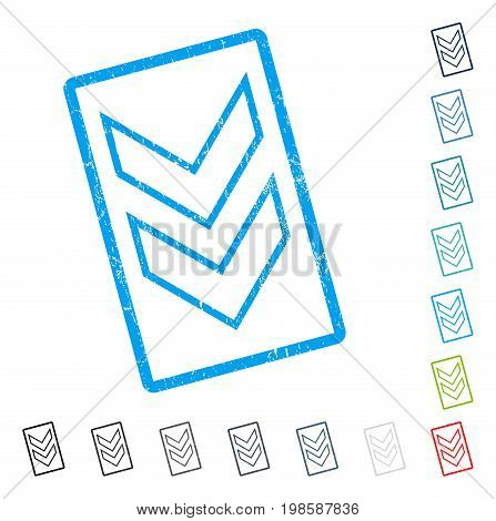 Shift Down rubber watermark in some color versions.. Vector pictogram symbol inside rounded rectangle with grunge design and dust texture. Stamp seal illustration, unclean sticker.