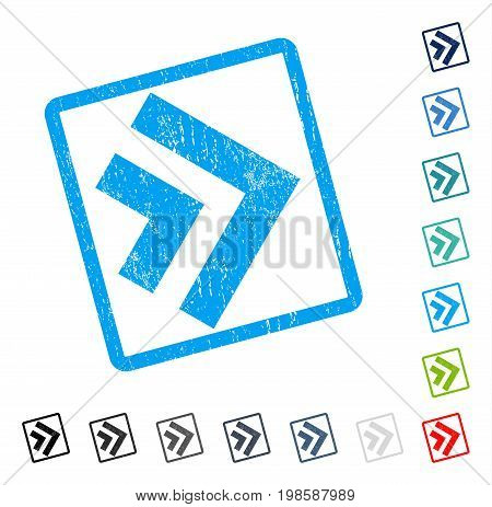 Shift Right rubber watermark in some color versions.. Vector pictogram symbol inside rounded rectangle with grunge design and dirty texture. Stamp seal illustration, unclean sticker.