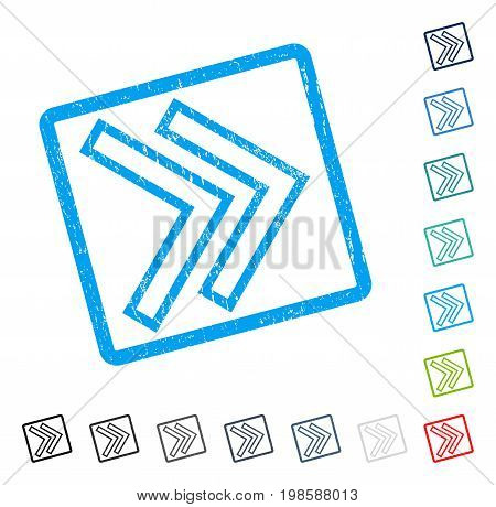 Shift Right rubber watermark in some color versions.. Vector icon symbol inside rounded rectangle with grunge design and dirty texture. Stamp seal illustration, unclean sticker.