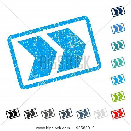 Shift Right rubber watermark in some color versions.. Vector icon symbol inside rounded rectangle with grunge design and scratched texture. Stamp seal illustration, unclean sign.