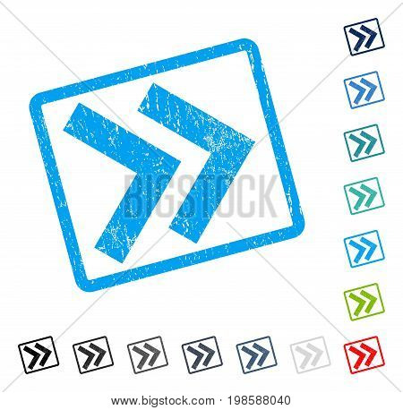 Shift Right rubber watermark in some color versions.. Vector pictogram symbol inside rounded rectangular frame with grunge design and dust texture. Stamp seal illustration, unclean sign.