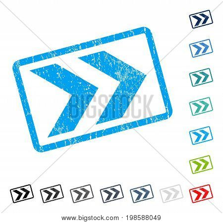 Shift Right rubber watermark in some color versions.. Vector pictogram symbol inside rounded rectangular frame with grunge design and scratched texture. Stamp seal illustration, unclean sticker.