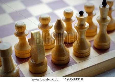Wooden Chess Set On Chess Board. Chess. Black And White. Closeup