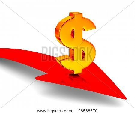 Sign dollar and arrow on white background. Isolated 3D illustration