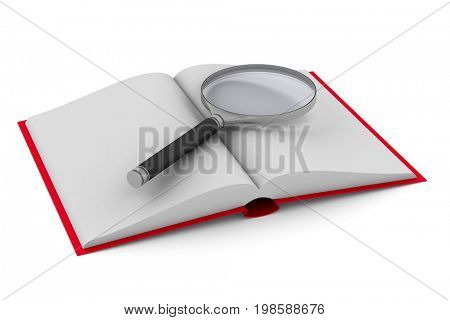 Open book and magnifier on white background. Isolated 3D illustration