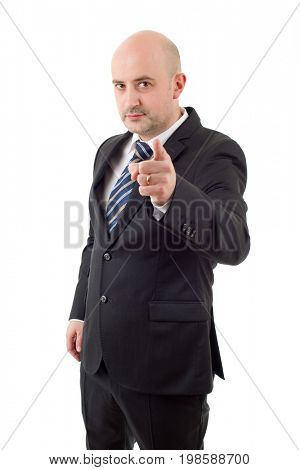 mad business man pointing, isolated on white