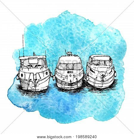 vector sketch of boats at blue watercolor background, hand drawn illustration