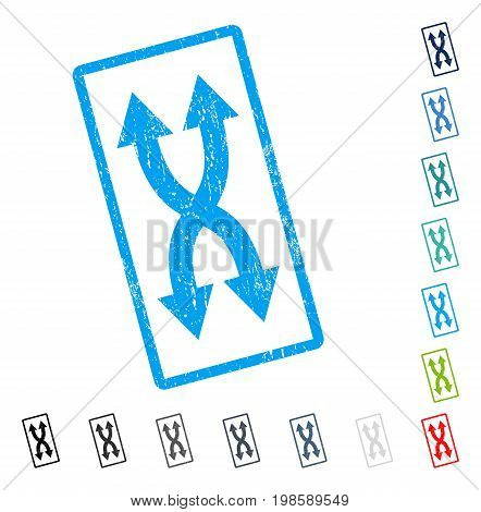 Shuffle Arrows Vertical rubber watermark in some color versions.. Vector icon symbol inside rounded rectangular frame with grunge design and unclean texture. Stamp seal illustration, unclean sign.
