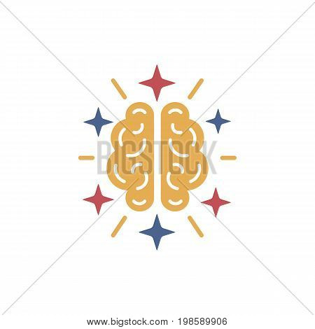 Brain icon. Abstract  human brain logo set in different colors. Brain, mind or intelligence flat icon for apps and websites.