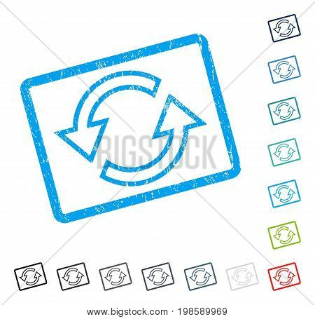 Sync Arrows rubber watermark in some color versions.. Vector icon symbol inside rounded rectangle with grunge design and dust texture. Stamp seal illustration, unclean emblem.