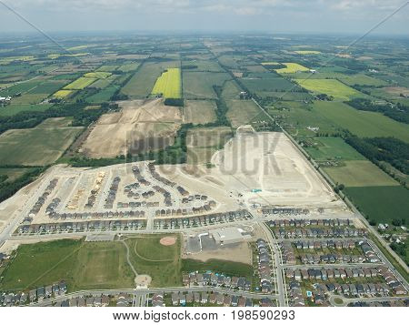 Aerial view of construction residential area. Summer time Ontario Canada