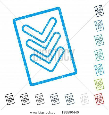 Triple Pointer Down rubber watermark in some color versions.. Vector icon symbol inside rounded rectangular frame with grunge design and scratched texture. Stamp seal illustration, unclean sign.