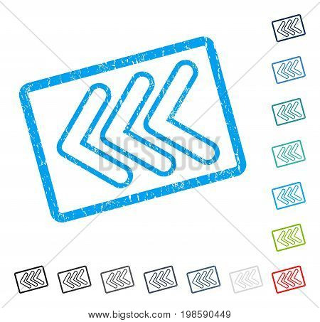 Triple Pointer Left rubber watermark in some color versions.. Vector icon symbol inside rounded rectangle with grunge design and scratched texture. Stamp seal illustration, unclean sticker.