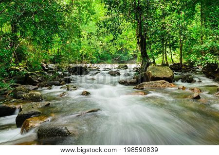 Ton Thong Waterfall in National Park Ranong Province,Thailand