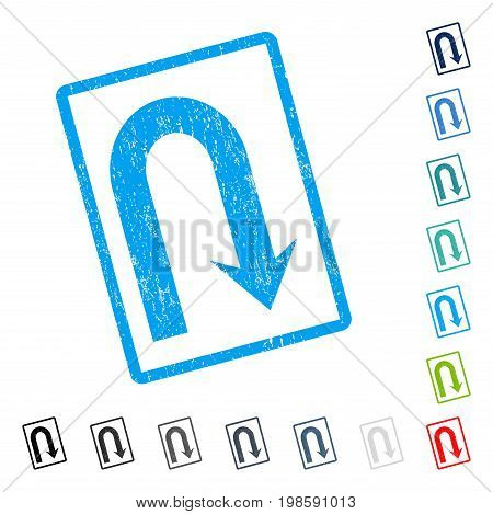 Turn Back rubber watermark in some color versions.. Vector icon symbol inside rounded rectangular frame with grunge design and dust texture. Stamp seal illustration, unclean sign.