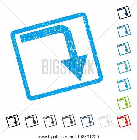 Turn Down rubber watermark in some color versions.. Vector pictogram symbol inside rounded rectangle with grunge design and dust texture. Stamp seal illustration, unclean emblem.