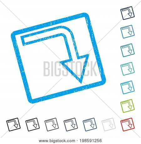 Turn Down rubber watermark in some color versions.. Vector pictogram symbol inside rounded rectangle with grunge design and scratched texture. Stamp seal illustration, unclean sticker.