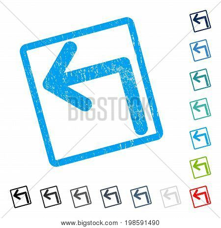 Turn Left rubber watermark in some color versions.. Vector pictogram symbol inside rounded rectangular frame with grunge design and dust texture. Stamp seal illustration, unclean sticker.