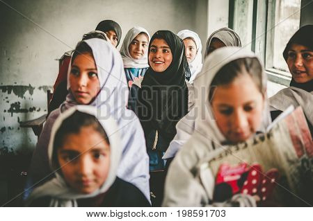 SKARDU, PAKISTAN - APRIL 17: An unidentified Children in a village in the south of Skardu are learning in the classroom of the village school April 17, 2015 in Skardu, Pakistan.