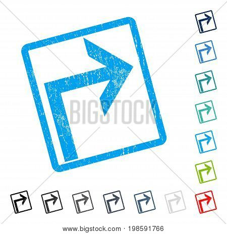 Turn Right rubber watermark in some color versions.. Vector icon symbol inside rounded rectangular frame with grunge design and dirty texture. Stamp seal illustration, unclean sticker.