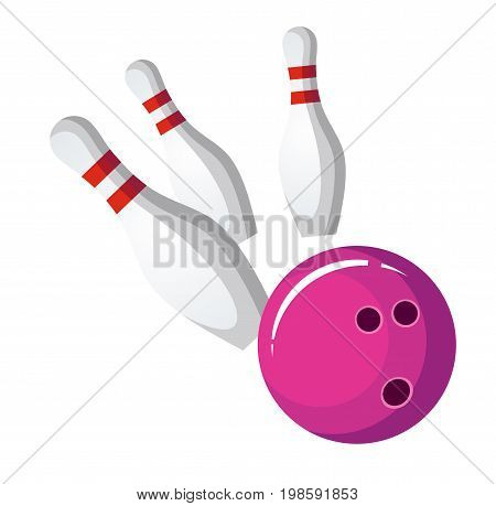Purple bowling ball crash the pins, vector illustration isolated on white background