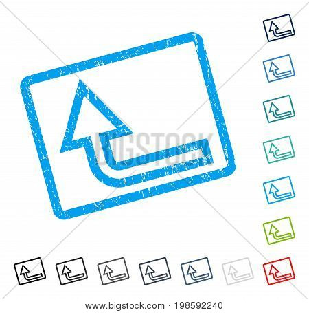 Turn Up rubber watermark in some color versions.. Vector icon symbol inside rounded rectangular frame with grunge design and dust texture. Stamp seal illustration, unclean sign.