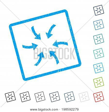 Twirl Arrows rubber watermark in some color versions.. Vector icon symbol inside rounded rectangle with grunge design and unclean texture. Stamp seal illustration, unclean emblem.