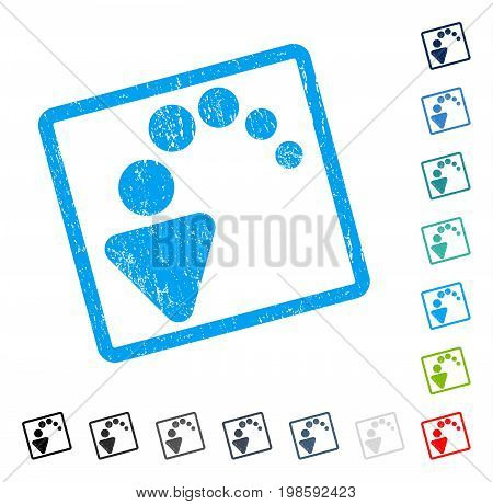 Undo rubber watermark in some color versions.. Vector pictogram symbol inside rounded rectangular frame with grunge design and dirty texture. Stamp seal illustration, unclean sign.