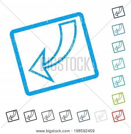 Undo rubber watermark in some color versions.. Vector pictogram symbol inside rounded rectangle with grunge design and scratched texture. Stamp seal illustration, unclean emblem.