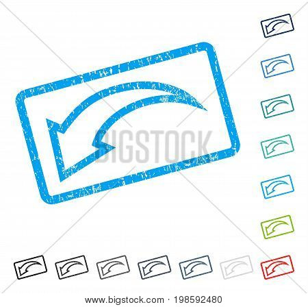 Undo rubber watermark in some color versions.. Vector icon symbol inside rounded rectangular frame with grunge design and dirty texture. Stamp seal illustration, unclean emblem.