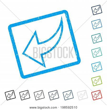 Undo rubber watermark in some color versions.. Vector icon symbol inside rounded rectangle with grunge design and dust texture. Stamp seal illustration, unclean sticker.