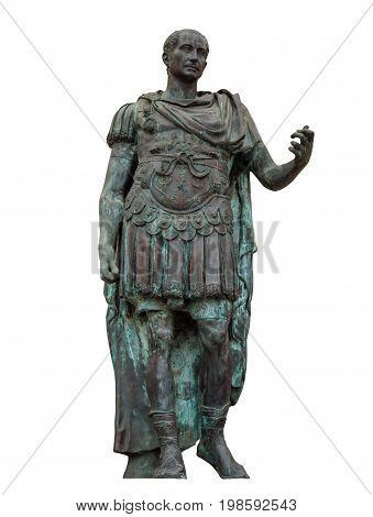Statue of Gaius Julius Caesar isolated on white in Rimini Italy. Clipping Path included